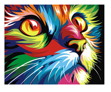 Malen nach Zahlen Bild Regenbogenfarbene Katze - T40502007 von Sonstiger Hersteller