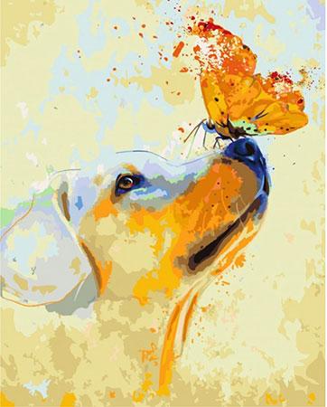 Malen nach Zahlen Bild Süßer Welpe mit Schmetterling - T50400025 von Sonstiger Hersteller