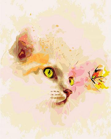 Niedliches Kätzchen und Schmetterling
