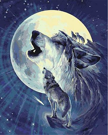 Malen nach Zahlen Bild Wolfsheulen im Mondlicht - T50400127 von Sonstiger Hersteller
