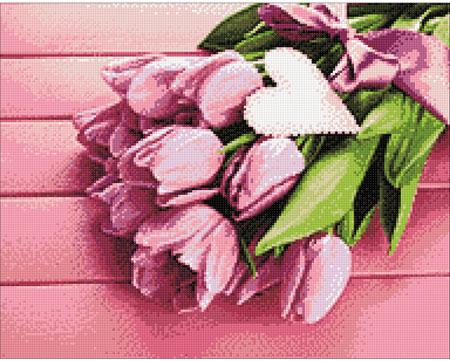 Malen nach Zahlen Bild Liebe und Tulpen - WD022 von Sonstiger Hersteller