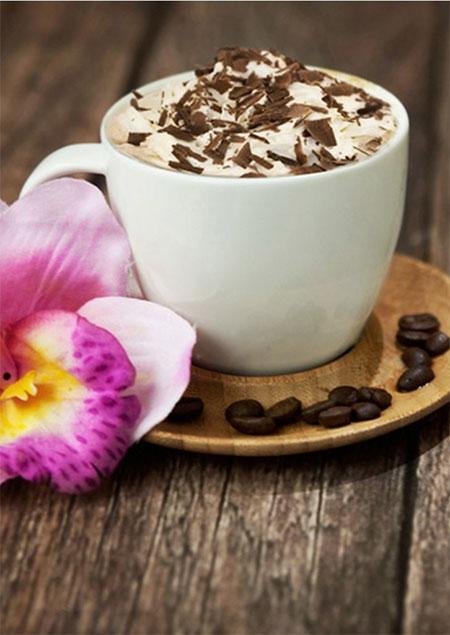 Malen nach Zahlen Bild Kaffee mit Blumen - WD037 von Sonstiger Hersteller