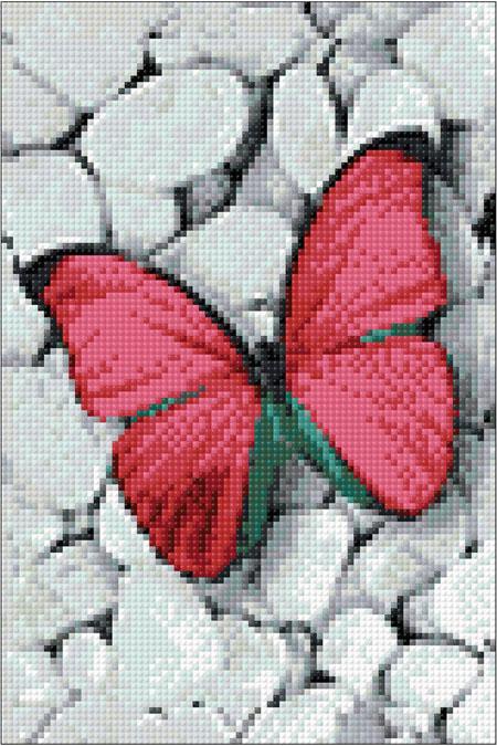 Malen nach Zahlen Bild Rosa Schmetterling - WD054 von Sonstiger Hersteller