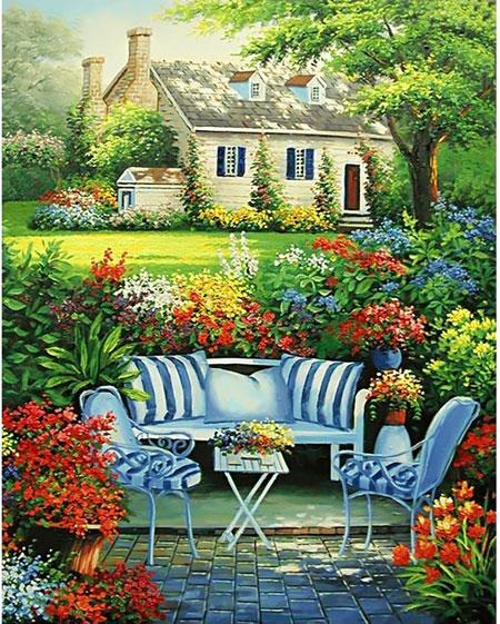 Malen nach Zahlen Bild Ruhe im Blumengarten - WD097 von Sonstiger Hersteller