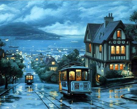 Straßenbahn im Abendschein
