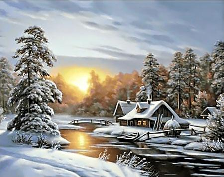 Malen nach Zahlen Bild Eingeschneite Winterhütte - WD105 von Sonstiger Hersteller