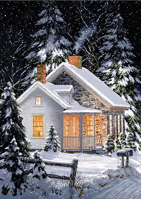 Malen nach Zahlen Bild Winterliches Zuhause - WD112 von Sonstiger Hersteller