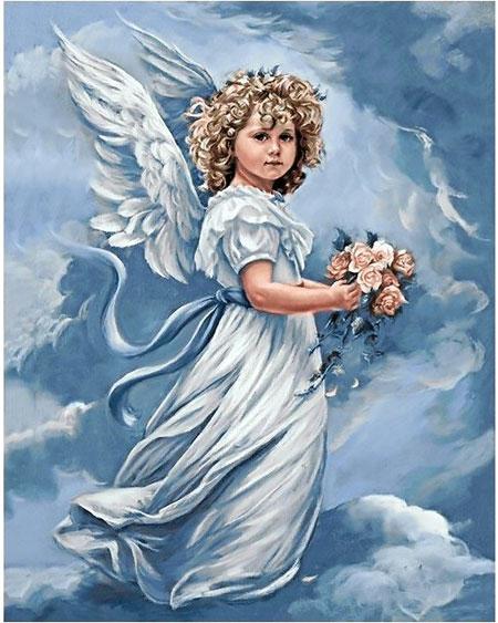 Malen nach Zahlen Bild Engel mit Blumen - WD167 von Sonstiger Hersteller
