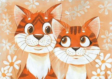 Malen nach Zahlen Bild Liebende Katzen - WD192 von Sonstiger Hersteller