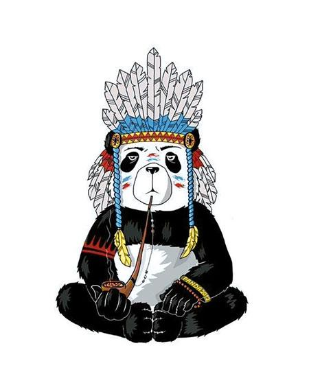 Malen nach Zahlen Bild Hippie-Panda - WD216 von Sonstiger Hersteller