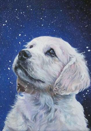 Hund und Schneeflocken