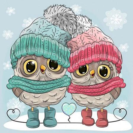 Kleine Eulen im Winter