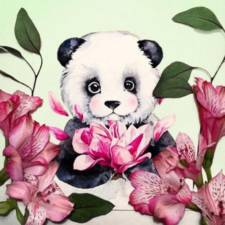 Panda und Blumen