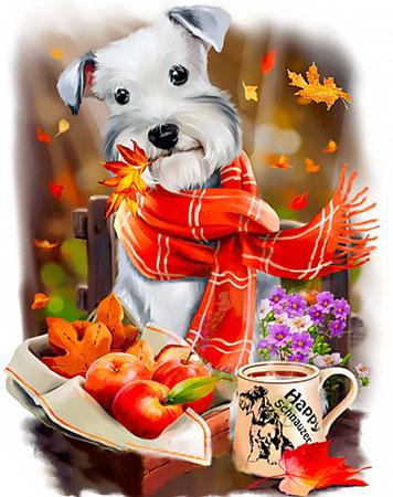 Malen nach Zahlen Bild Herbsthund - WD2349 von Sonstiger Hersteller