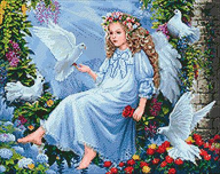 Malen nach Zahlen Bild Engel mit Tauben - WD2405 von Sonstiger Hersteller