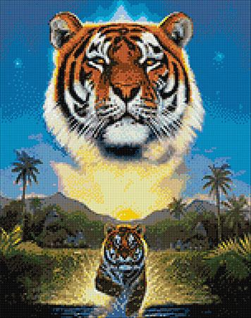 Malen nach Zahlen Bild Tiger im  Fluss - WD2411 von Sonstiger Hersteller