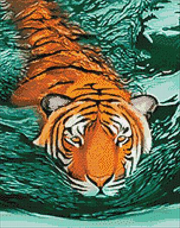 Malen nach Zahlen Bild Schwimmender Tiger - WD2413 von Sonstiger Hersteller