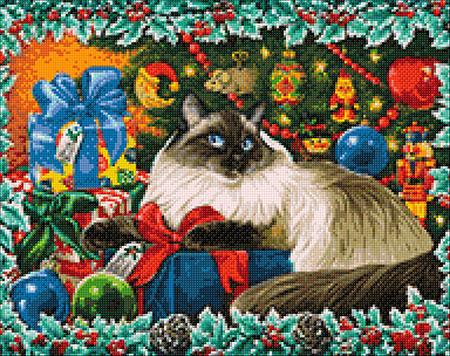 Malen nach Zahlen Bild Weihnachtskatze - WD2422 von Sonstiger Hersteller