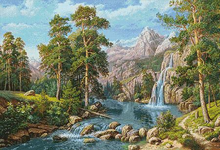 Malen nach Zahlen Bild Am Wasserfall - WD2459 von Sonstiger Hersteller