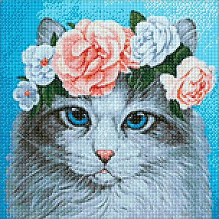 Malen nach Zahlen Bild Katze mit Blumenkrone - WD2464 von Sonstiger Hersteller