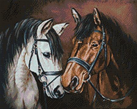 Malen nach Zahlen Bild Zärtlichkeit unter Pferden - WD2469 von Sonstiger Hersteller