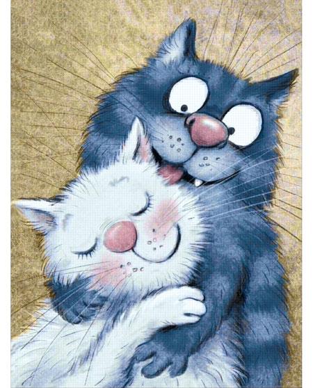Malen nach Zahlen Bild Zärtlichkeiten unter Katzen - WD263 von Sonstiger Hersteller