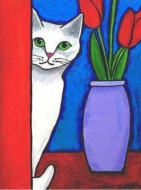Katze mit Blumen