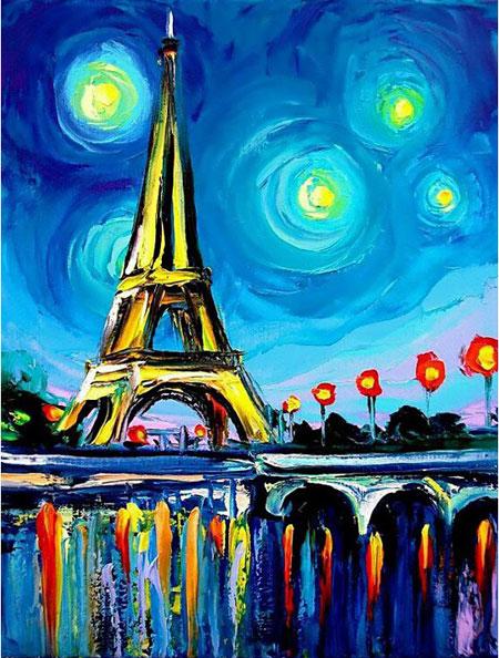Malen nach Zahlen Bild Paris in Farbe - WD291 von Sonstiger Hersteller