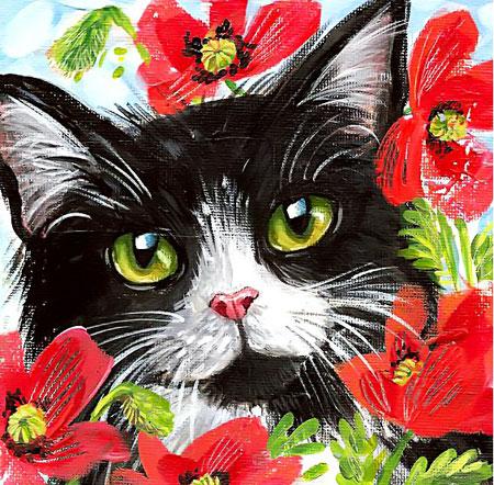 Malen nach Zahlen Bild Blumige Katze - WD292 von Sonstiger Hersteller
