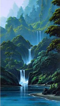 Malen nach Zahlen Bild Wasserfall in den Bergen - WD314 von Sonstiger Hersteller