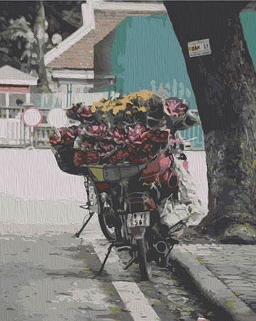 Malen nach Zahlen Bild Blumenverkauf am Straßenrand - T40500336 von Sonstiger Hersteller