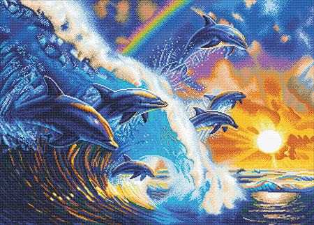 Malen nach Zahlen Bild Delfine in den Wellen - CAK-A103XL von Sonstiger Hersteller