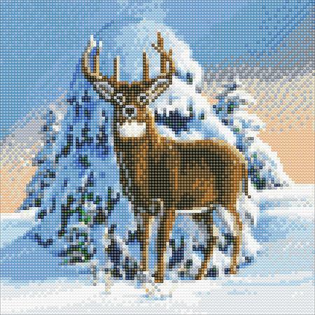 Hirsch in der Winterlandschaft