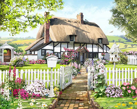 Malen nach Zahlen Bild Cottage mit Rosen - CAK-A94L von Craft Buddy