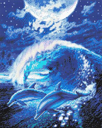 Delfine im Mondlicht