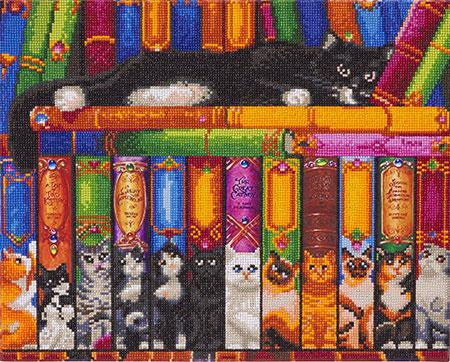 Malen nach Zahlen Bild Katzen im Bücherregal - CAK-RS2 von Sonstiger Hersteller