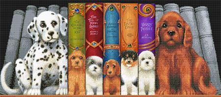 Hunde im Bücherregal