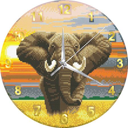 Malen nach Zahlen Bild Uhr - Elefant - CLK-S6 von Sonstiger Hersteller