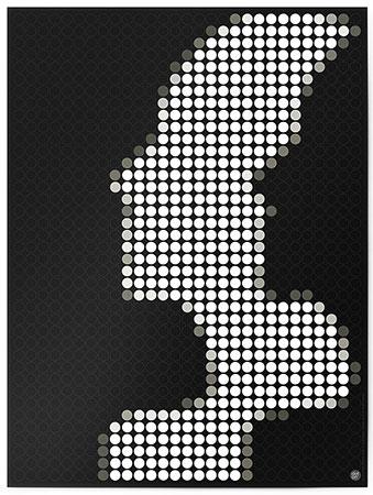 Malen nach Zahlen Bild DOT ON ART - Schwarz-weiß Silhouette - black-white-silhouette-L von Dot On