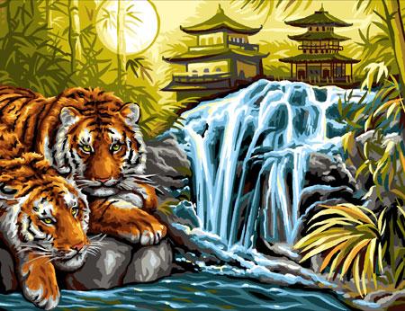 Malen nach Zahlen Bild Tiger am Fluss - 8241524 von Mammut