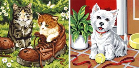 Katzen und Hund