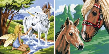 Einhorn und Pferde