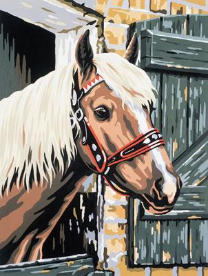 Malen nach Zahlen Bild Pferd im Stall - 105019 von Mammut