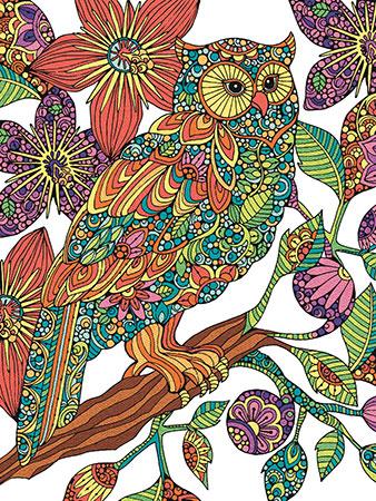 Eule im Blütengefieder