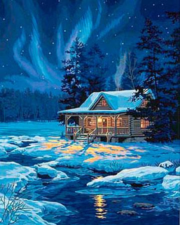 Cottage unter Polarlichtern