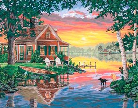 Malen nach Zahlen Bild Haus am See - 91315 von Paintworks