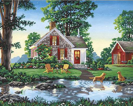 Malen nach Zahlen Bild Landhaus mit Teich - 91433 von Sonstiger Hersteller