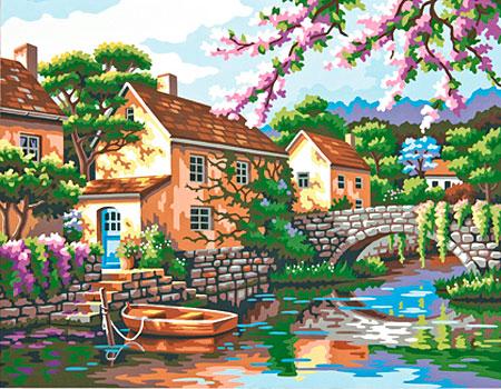 Malen nach Zahlen Bild Dorfbrücke - 91440 von Sonstiger Hersteller