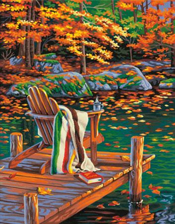 Malen nach Zahlen Bild Badesteg im Herbst - 91468 von Sonstiger Hersteller