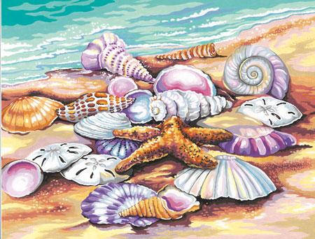 Malen nach Zahlen Bild Muscheln am Strand - 91526 von Paintworks